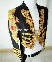 Men Fashion Black Long Style Slim Jacket Magic Garbage Bags Royal Marriage Male Singer Performance Laciness