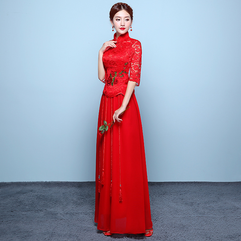 Modern Chinese Wedding Dress Red Flower Embroidery Qipao Vintage ...