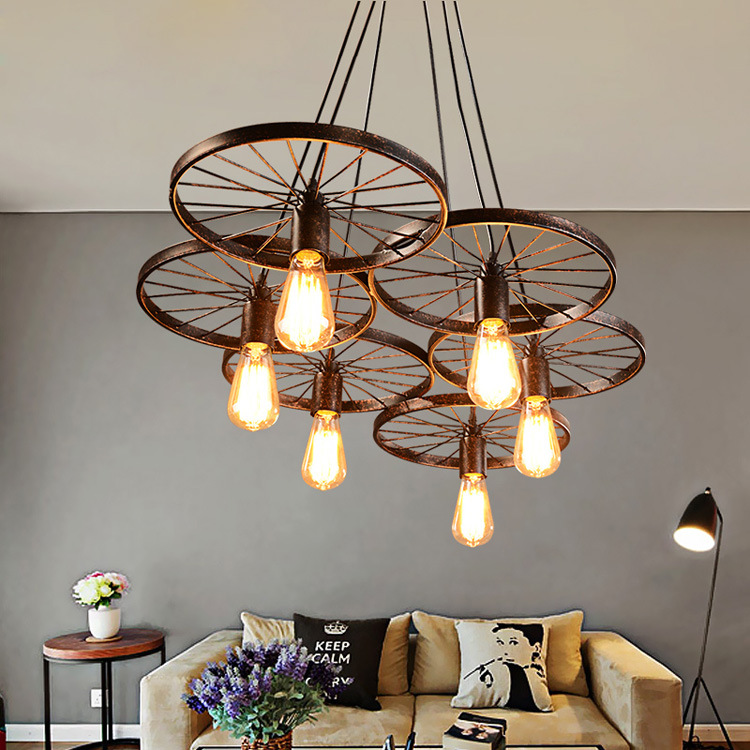 Black Wagon Wheel Light: Vintage Chandelier Iron Wheel Shape Ceiling Pendant Lamp