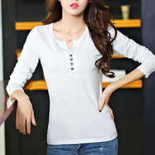 Cotton T-shirts With Buttons for Women