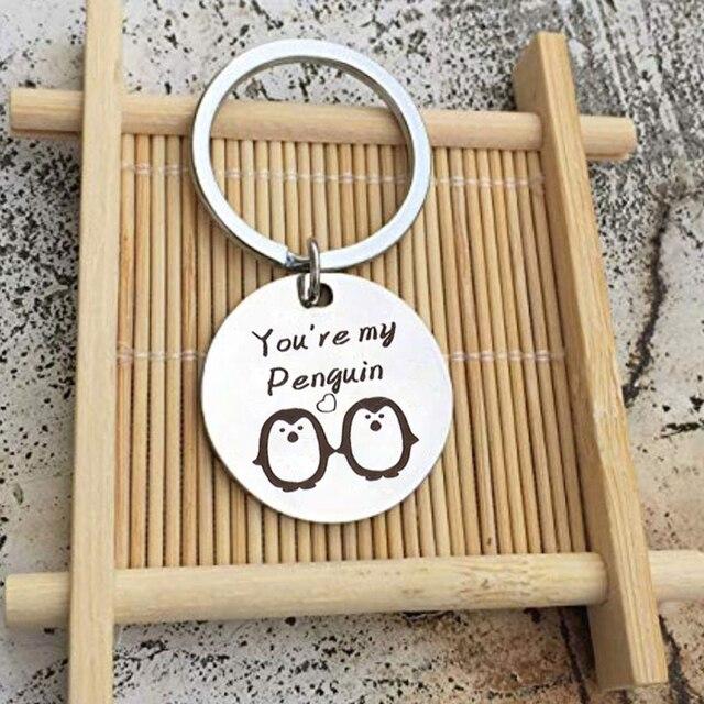 Breloques de mode porte-clés acier inoxydable vous êtes mon pingouin porte-anneau porte-clés Couple cadeau bijoux porte clef
