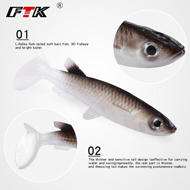 FTK señuelo DE PESCA 1 piezas de cuerpo suave cebo 3D bajo atraer Wobbler 6 cm 3g falso lifelikelure pesca de peces abordar carnada nade cebo de agua salada
