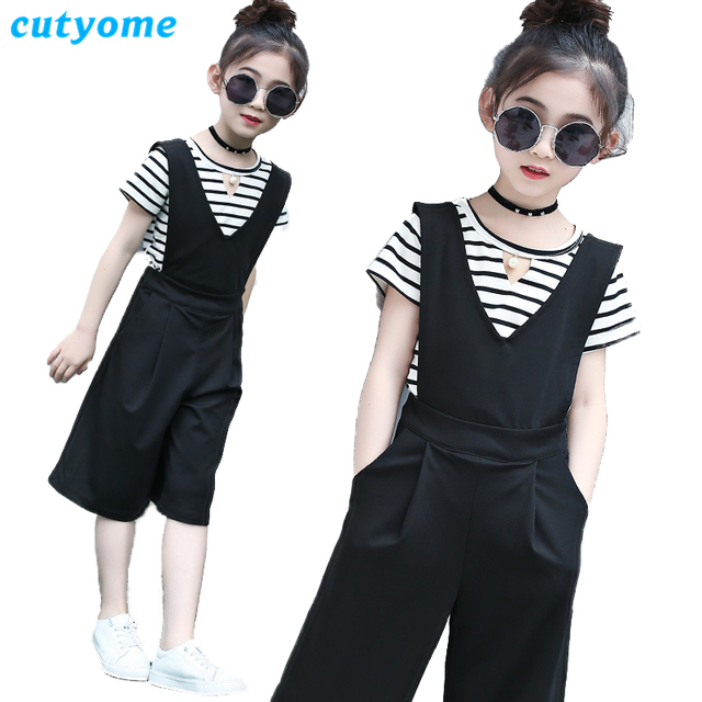a3b3f2f3c37 Cutyome Kids Overalls Teenage Girls Wide Leg Pants 2018 Summer Solid Black  Children Strap Jumpsuit Girls Loose Suspender Trouser