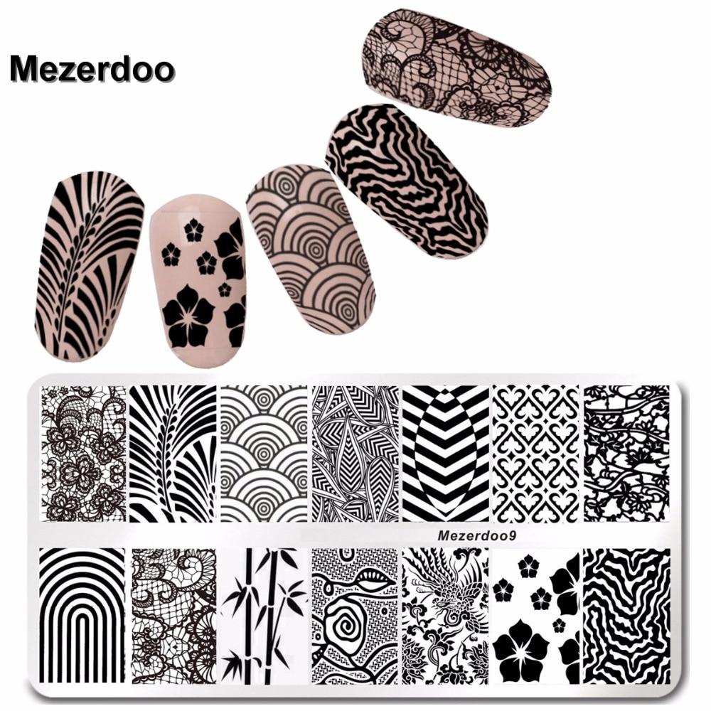 Plantilla de Estampado de Uñas de Acero inoxidable Diseño Geometría de Encaje 6 * 12 cm Manicura Nail Art Imagen Placa Mezerdoo9