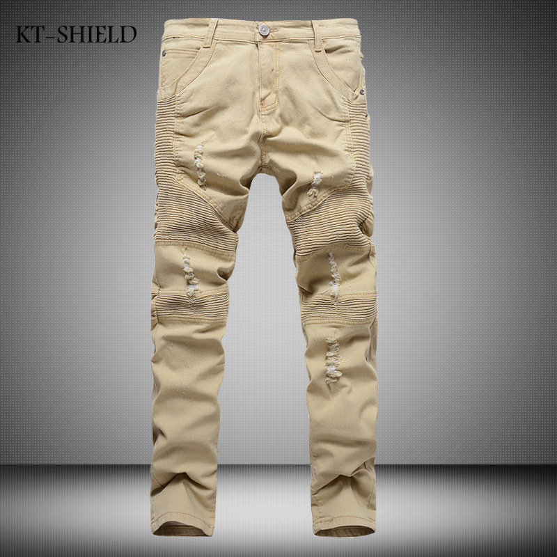 New Arrival Khaki Mens Biker Jeans Fashion Brand Designer Pleated Moto Jeans man Ripped Slim Fit Straight Denim vaqueros hombre 2017 fashion patch jeans men slim straight denim jeans ripped trousers new famous brand biker jeans logo mens zipper jeans 604