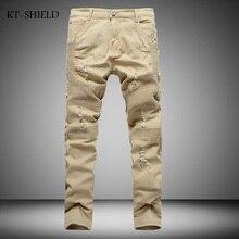 New Arrival Khaki Mens Biker Jeans Fashion Brand Designer Pleated Moto Jeans Male Light Ripped Slim Fit Straight Denim Joggers