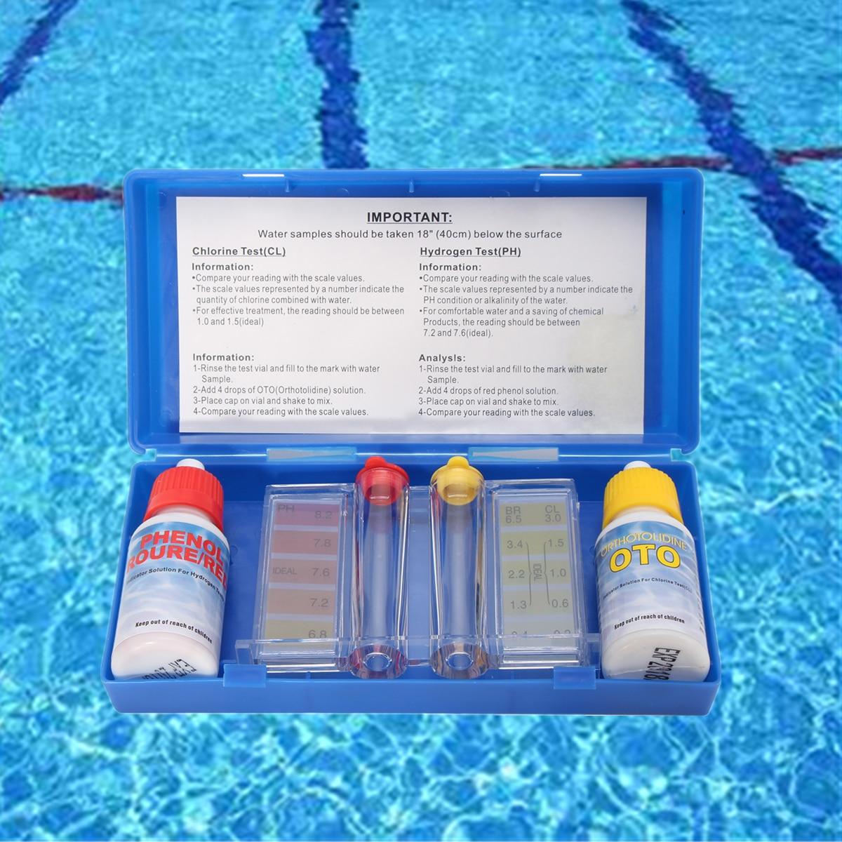 PH Chlorine Water Quality Test Kit Tester Hydrotool Testing Set Swimming Pool Hydroponics Aquarium Accessories
