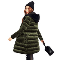 2017 Newest Velour Coat Hooded Winter Jacket Women Korean Long Velvet Parka Thicken Slim Warm Outwear