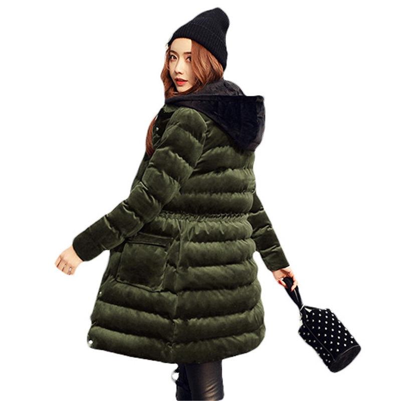 2017 Newest Velour Coat Hooded Winter Jacket Women Korean Long Velvet Parka Thicken Slim Warm Outwear Ladies Fashion Parkas L577 saf thicken warm winter coat hood parka overcoat long jacket outwear