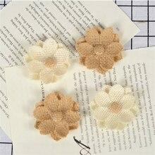 10pcs Natural Jute Burlap Hessian Flower Linen DIY Craft Accessories Vintage Favor Rustic Wedding Decor Home Christmas