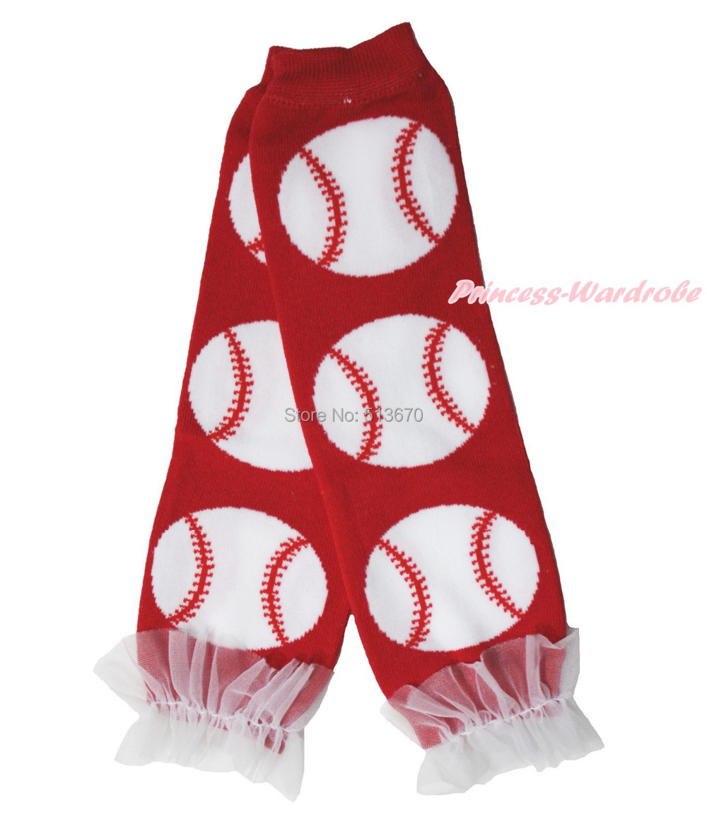 Hot Red Baseball Kids Girl Cotton Leg Warmer White Ruffle Lacing Leggings MALE002