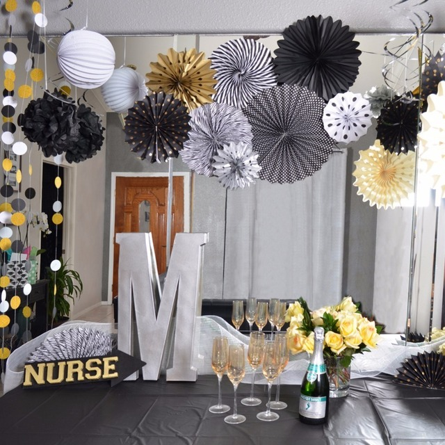 Pack Of 22pcs Gold And Black Birthday Party Decoration Adult Supplies For 30th