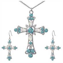 Statement Necklace for Women Choker Jesus Flower Christian Religion Jewelry Crystal Cross Pendant Necklaces Earrings Sets faux crystal flower necklace and earrings
