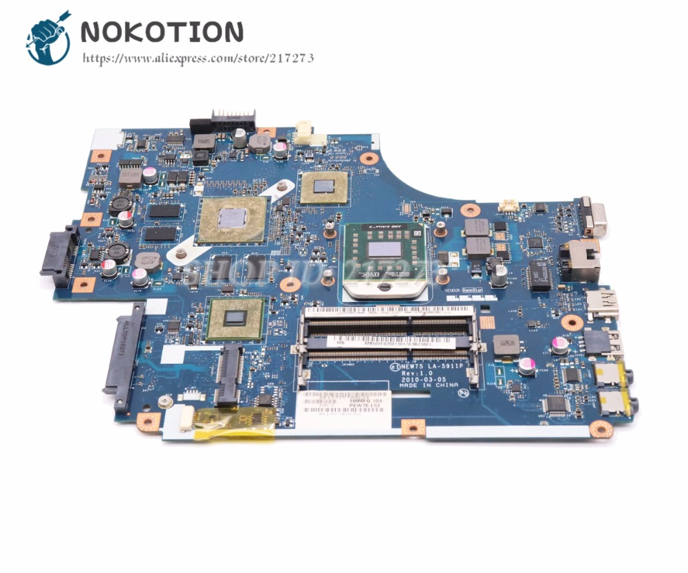 NOKOTION For Acer aspire 5551 5551G 5552G Laptop Motherboard MBWVF02001 NEW75 LA-5911P HD5650 1GB Video card DDR3 Free CPU original new75 la 5912p fit for acer aspire 5552g 5551g laptop motherboard heatsink la 5911p mb bl002 001 mbbl002001 ddr3