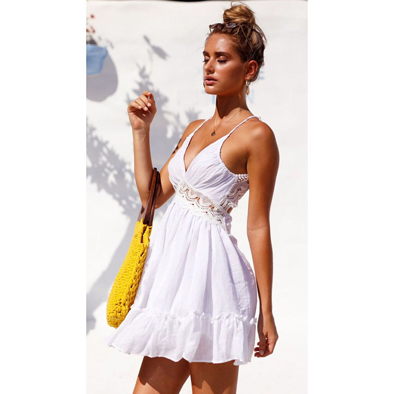 2019 Newest Ladies Cover-Ups V Neck Bikini Cover Up Lace Hollow Crochet Swimsuit Beach Dress Women Bathing Suit Beach Wear