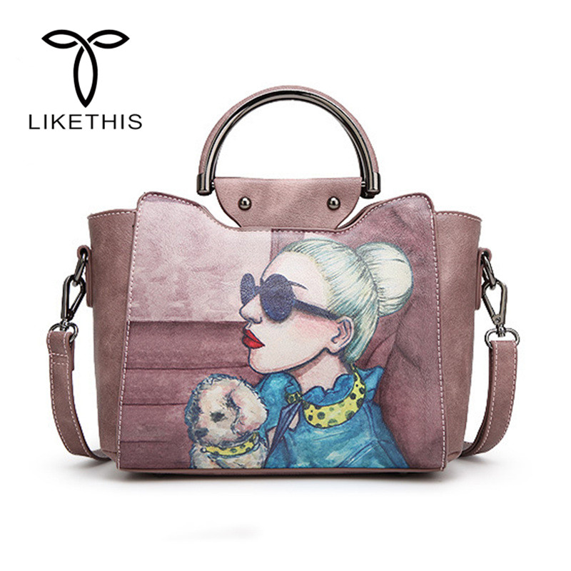 Women Pink Cartoon Dog And Girl Shoulder Bag PU Leather Handbag Ladies Large Capacity Female Shopping Bag Fashion Handbags 51 2018 new women bag ladies shoulder bag high quality pu leather ladies handbag large capacity tote big female shopping bag ll491