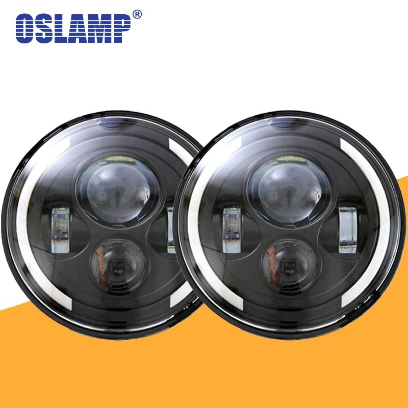 Oslamp 2pcs 7 Round LED Headlight Hi Low Beam DRL Halo Angle Eye for Jeep Wrangler