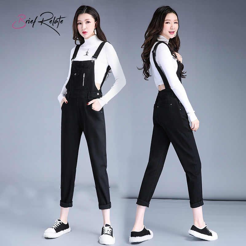 Краткое относятся Для Женщин Джинсовое, в Корейском стиле свободные пляжный комбинезон джинсы на подтяжках, костюм комбинезоны (черный)