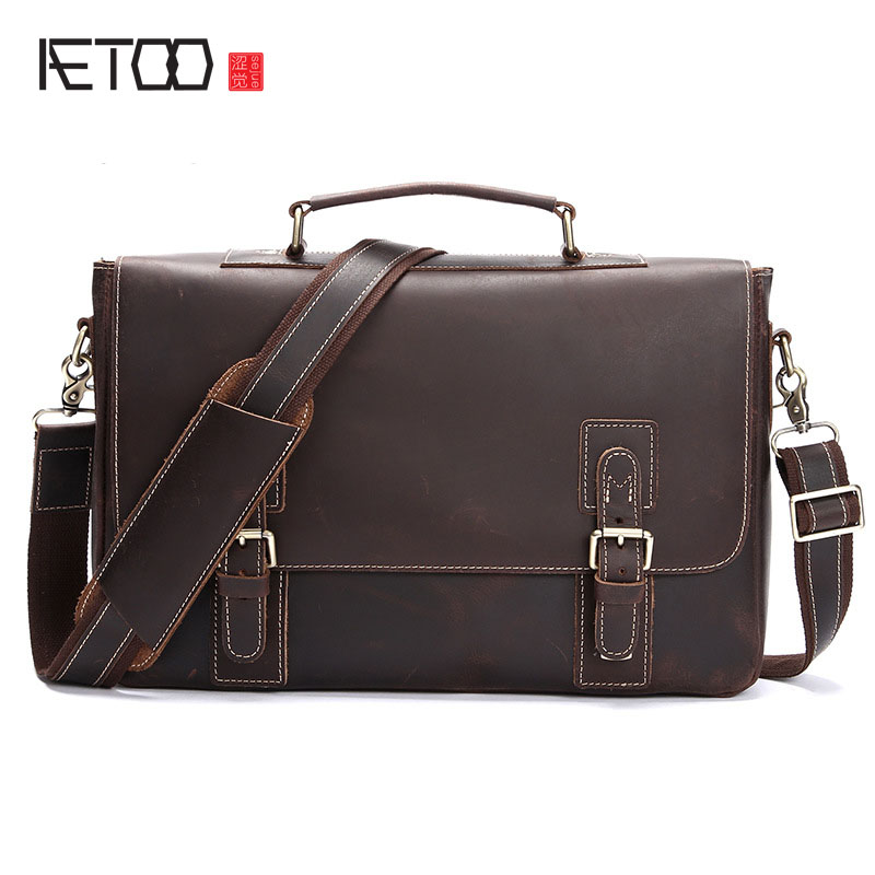 AETOO Leather bag and handbag retro trend crazy horse leather business men Shoulder Messenger Bag tide champion lm5345bs