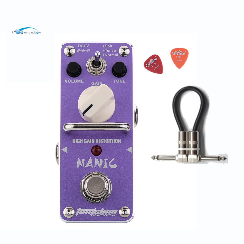 Aroma AMC-3 MANIC High Gain Distortion Guitar Effect Pedal Mini Design with True Bypass+Free Cable mooer solo distortion guitar effect pedal high gain distortion true bypass with free connector and footswitch topper