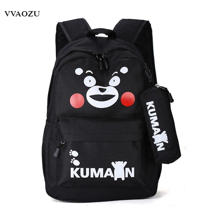 Кумамон Рюкзаки Японии Аниме Холст Медведь Школьный 13 ноутбук сумка для подростка Обувь для мальчиков для девочек 5 цветов Рюкзак Mochila