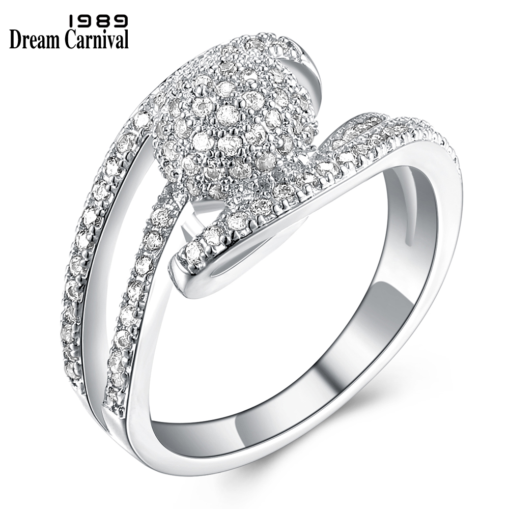 Dreamcarnival1989 Wedding Party Band Rings For Women Rhodium or Gold-color  Prong Setting Clear White Synthetic Cubic Zirconia 527c5a69bef