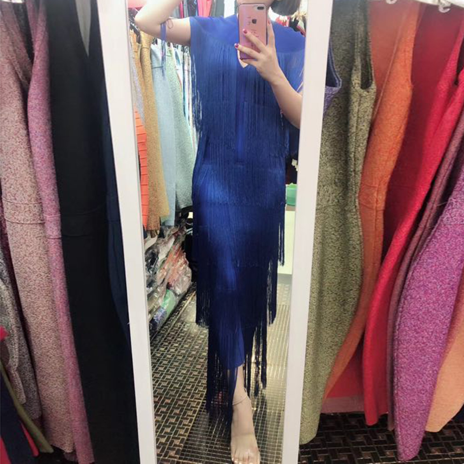 2018 nova moda borla vestido de borla das mulheres das mulheres em torno do pescoço apertado vestido sexy vestido de verão azul branco damasco preto celebridade partido vestido - 6