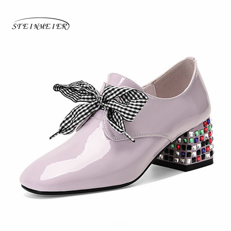 Women summer high heels fashion genuine leather pumps spring thick heels shoes square toe laces heel woman shoes 2019Women summer high heels fashion genuine leather pumps spring thick heels shoes square toe laces heel woman shoes 2019