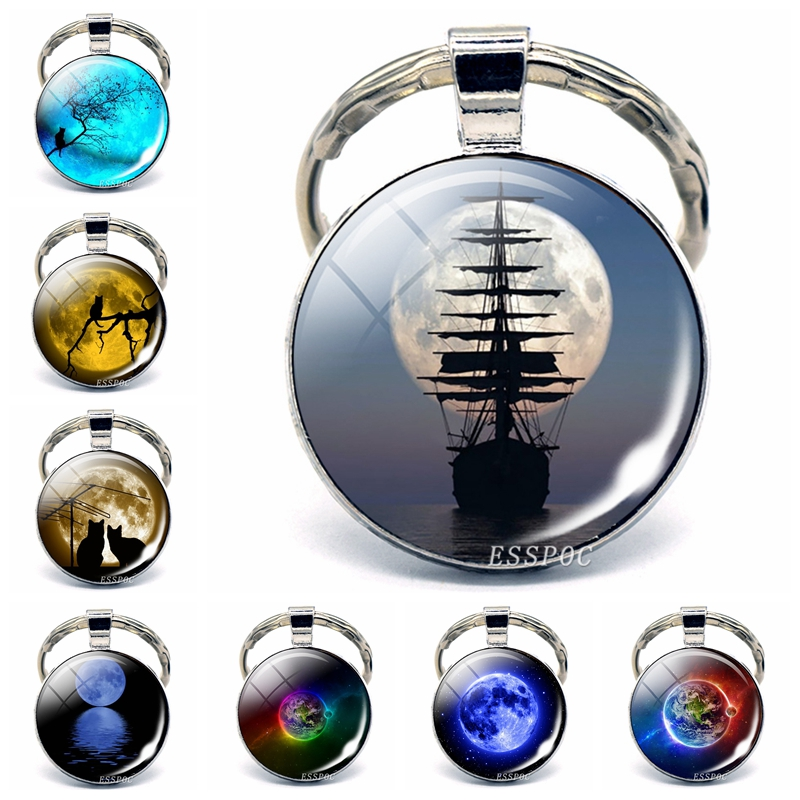 Full Moon Jewelry Glass Cabochon Metal Plated Keychain Car Keyring Fashion Accessories Valentines Day Gift For Lovers Couples