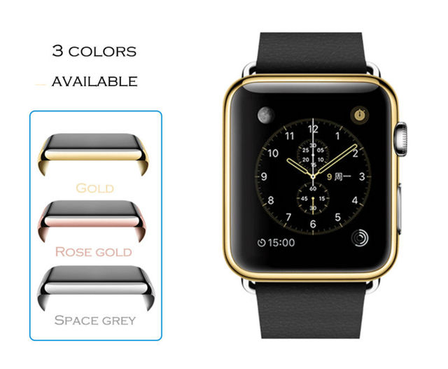 154cea140d7dcf URVOI metal electroplating case for apple watch full cover for iwatch  shelter screen film protector slim fit size 42mm