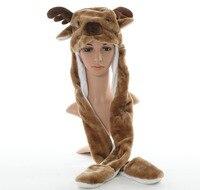 DOUBCHOW Paws Sevimli Peluş Uzun Kahverengi ile Ren Geyiği Hayvan Şapka Eldiven Yetişkin Gençler Çocuk Boys Kız Kış Noel Hediyeler için
