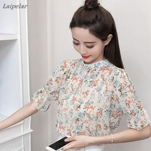 купить 2018 Summer Top Flare Short Sleeve Women Blouse Chiffon Hollow Sexy Casual Shirt Floral Print Tops Loose Blouses Clothing Blusas дешево