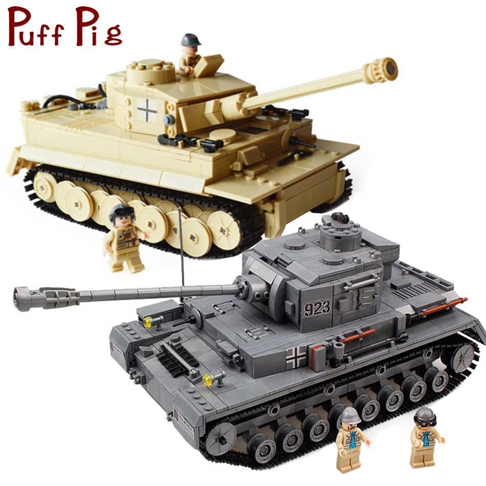 цены Military Germany Panzer PZKPFW-IV War Tiger Tank Model Building Blocks Set Compatible Legoed Army ww2 Vehicle Soldiers Kids Toys