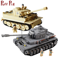 Military Germany Panzer PZKPFW IV War Tiger Tank Model Building Blocks Set Compatible Legoed Army ww2 Vehicle Soldiers Kids Toys