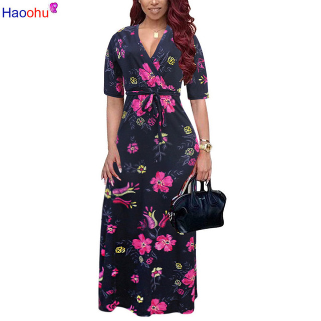 Flower Print Bohemian Floral Dress 2018 Short Sleeve Women Summer Midi Dresses Loose Casual Party Dress Robe 5XL Plus Size