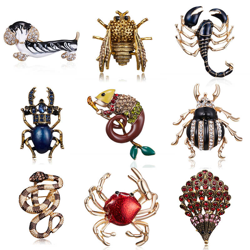 Vintage Style Spring Animal Dog Crab Bee Bugs Brooches for Women Fashion Beetle Brooch Pin Wedding Bride Jewelry Gift