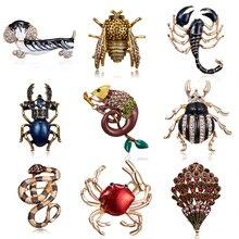 Broche de primavera Estilo Vintage con diseño de Animal, perro, cangrejo, abeja, broches de bichos para mujer, broche de escarabajo a la moda, Pin para boda, regalo de joyería para novia