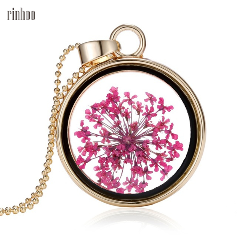 Vintage Pink Dry Flower Necklaces Pendants Flower Resin Jewelry Gold Elegant Romantic jewelry For Women lover couple summer gift