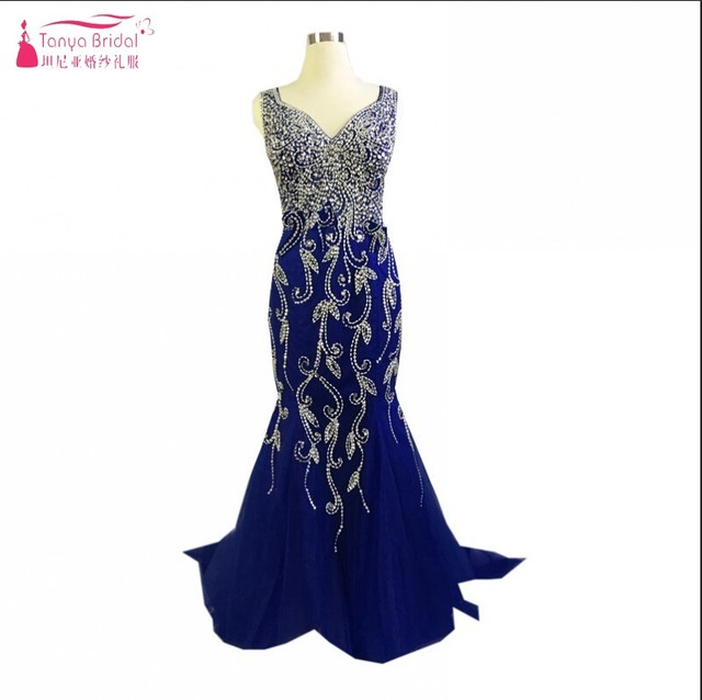 Sexy Mermaid Long Style Heavy Beads Sequins Royal Blue Evening