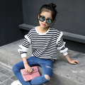 5 6 7 8 9 10 11 12 13 Years T-shirt Girl Spring Wear Striped Long Sleeve T Shirt Girls Shirts 2017 Childrens Clothes Girls Teen