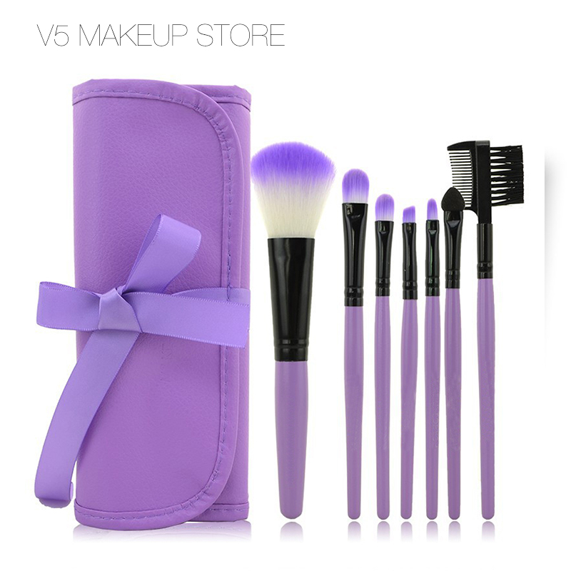 Professional 7 PCS Makeupborstar Set Tools Makeup Toalettartiklar Ull Märke Make Up Brush Set Case Cosmetic Foundation Brush