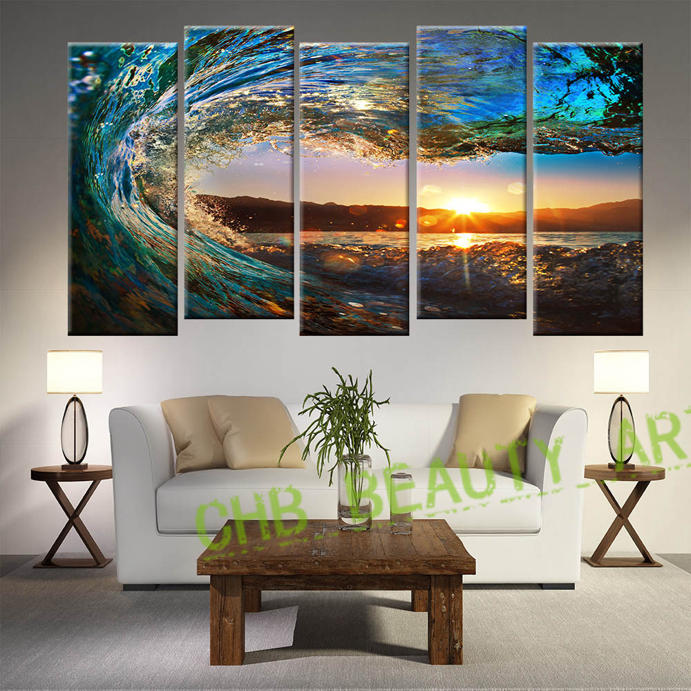 com buy 5 panel seascape painting modern canvas art sea wave bedroom