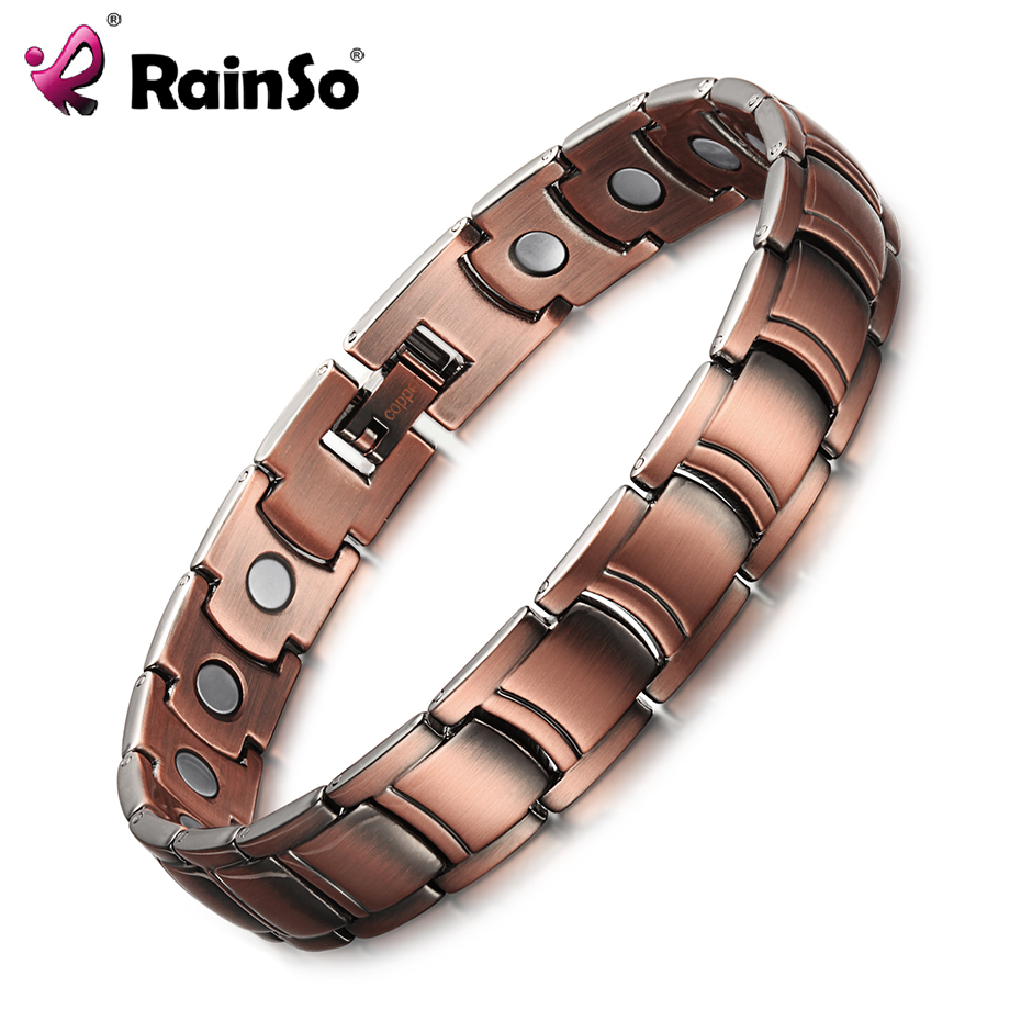 RainSo Men's Copper Magnetic Therapy Bracelets & Bangles for Arthritis Bio Energy Healing Female Jewelry Wristbands Adjustable exploring therapy spirituality and healing