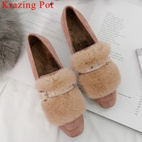 Hot selling natural leather classic squaretoe slip on buckle belt luxury rabbit fur sweet fairy spring autumn concise Pumps L20