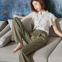 Weilai Summer Green Acetate Wide Leg Pants Women Elegant Hig