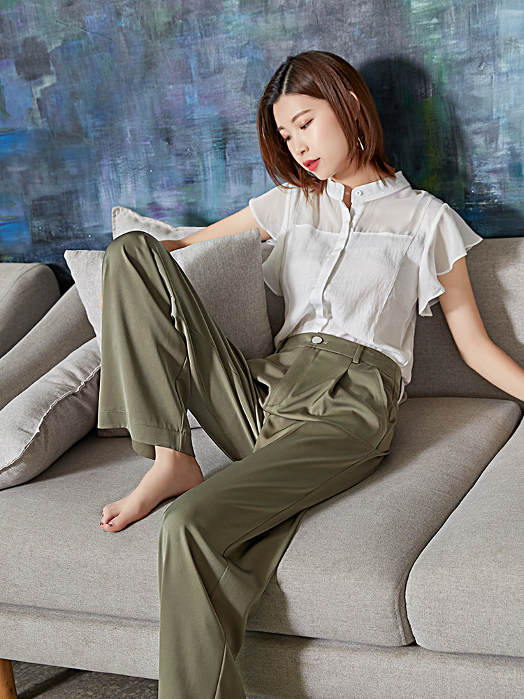 Weilai Summer Green Acetate   Wide     Leg     Pants   Women Elegant High Waist Fake Zippers Palazzo   Pants   Korean Style   Wide     Pants   2019 New