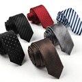 Crânio impresso Laços Moda Gravata Estreita dos homens Listras Adulto Masculino Gravata de Poliéster Pontos Laços Gravata Masculina Comercial