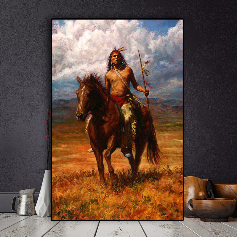 Native Indian Landscape Oil Painting