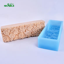 Big Rectangle Loaf Silicone Soap Mold Decorative Patterns on the Bottom for Craft Handmade