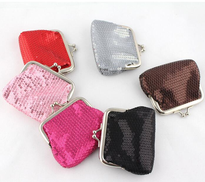 48 pieces Sequins Buckle Coin Purse Women Fashion Shiny Purses Mini Wallet Girl Change Purse Key Jewelry Storage Bag Coins Pouch